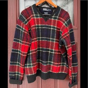 Vtg Ralph Lauren Plaid Lambswool Sweater HandKnit